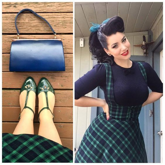 vintage 50s high waist midi swing circle green tartan plaid