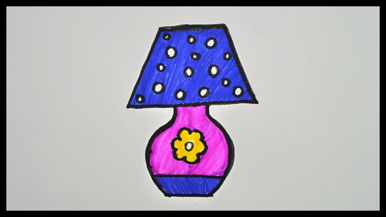 How To Draw A Lamp Drawing And Coloring For Kids Coloring For Kids Drawing For Kids Cool Lamps