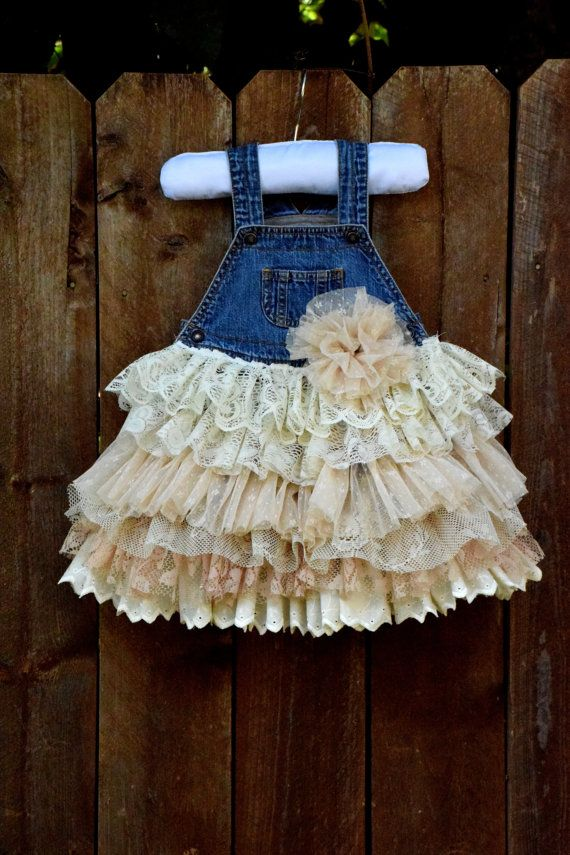Denim Vintage Linen And Lace Flower Girl Country Wedding