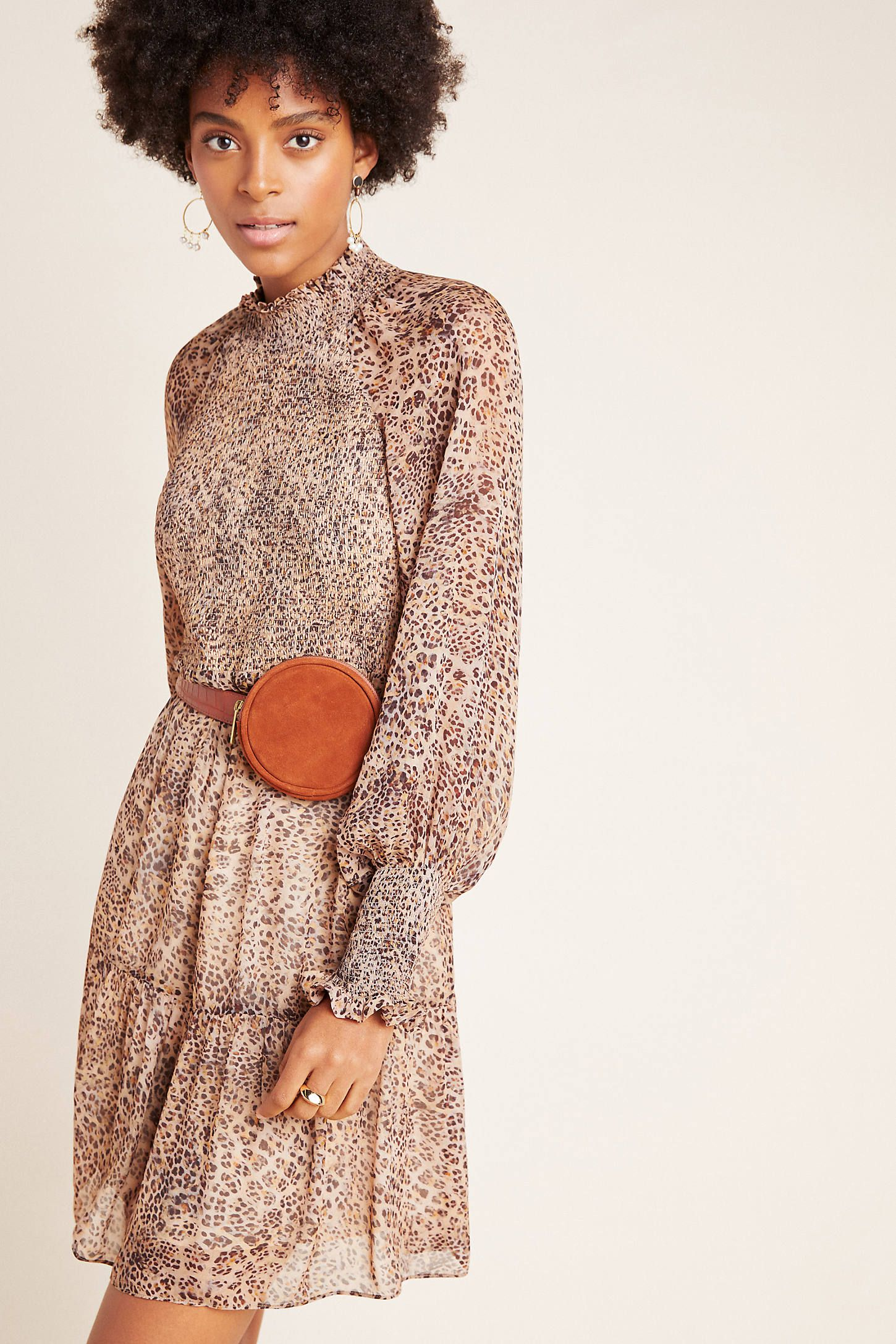 ML Monique Lhuillier Leopard Smocked Mini Dress 2