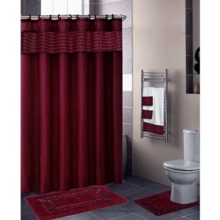 Burgundy Fl Ribbon 18 Piece Bathroom Set 2 Rugs