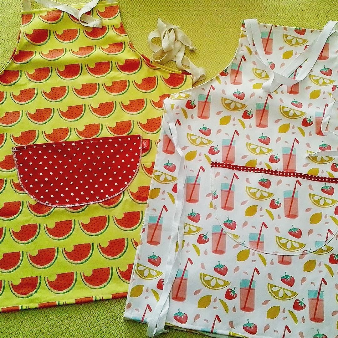 #brandnew #handmade #aprons in #watermelon and #pinklemonade #summer #prints. #stitched by #spenceaustralia.  #fabric #designed by @younisclare #spoonflower #yellow #red #pink #watermelonprint #australiandesign #homewares #fashion #greatoceanroad by spenceaustralia
