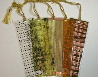 Recycled Vintage Circuit Board Geek Bookmarks pkg 2