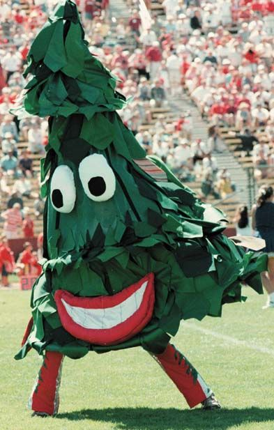 The Stanford Cardinal Mascot The Tree An Unofficial Mascot It Is A Part Of The School S Marching Band And Its Look Chan Stanford Mascot Stanford Tree Mascot