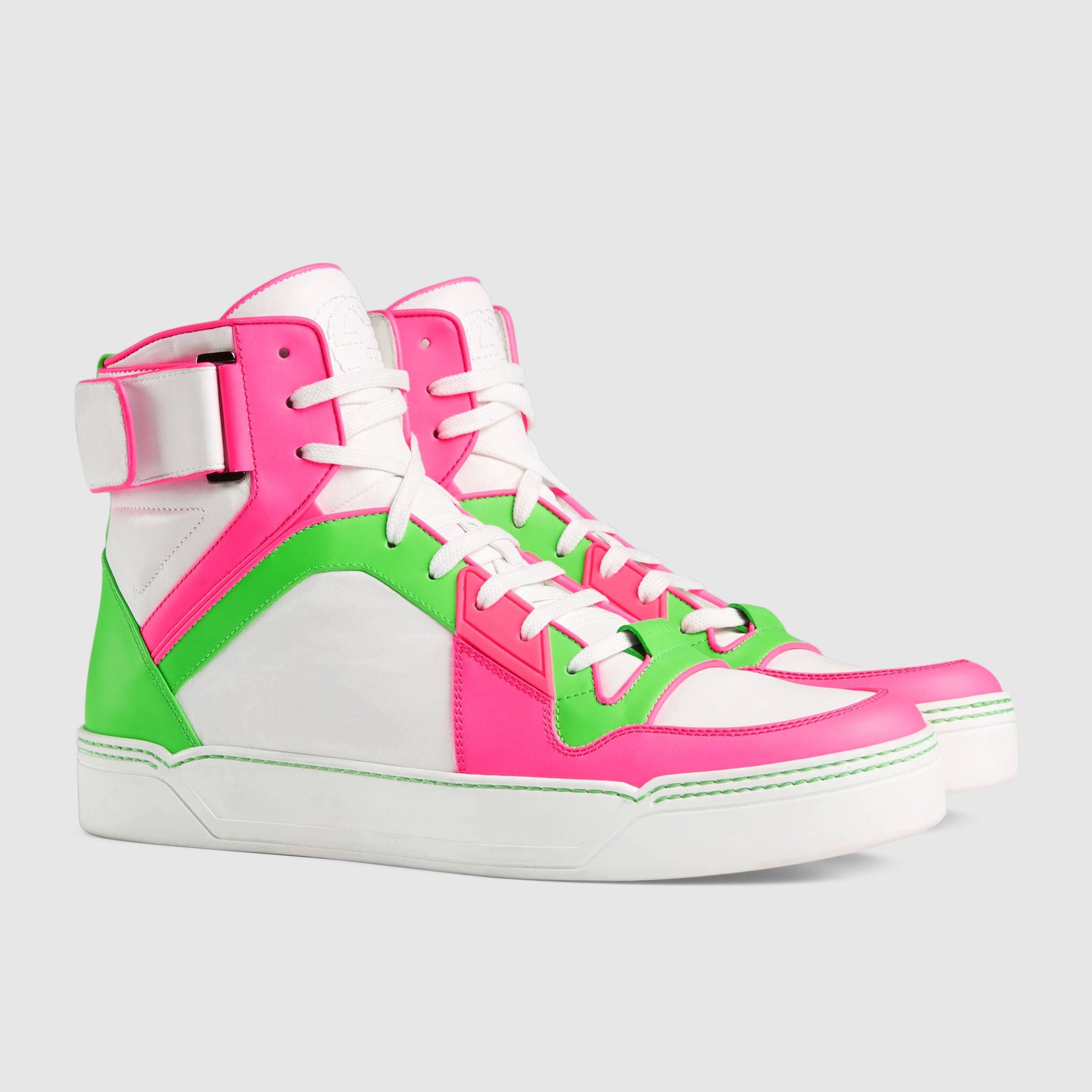 Gucci Neon leather high-top sneakers. Was $865, now $429. Was 670 EUR, now 335 EUR.