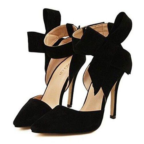 Black Big Bowknot High Heels