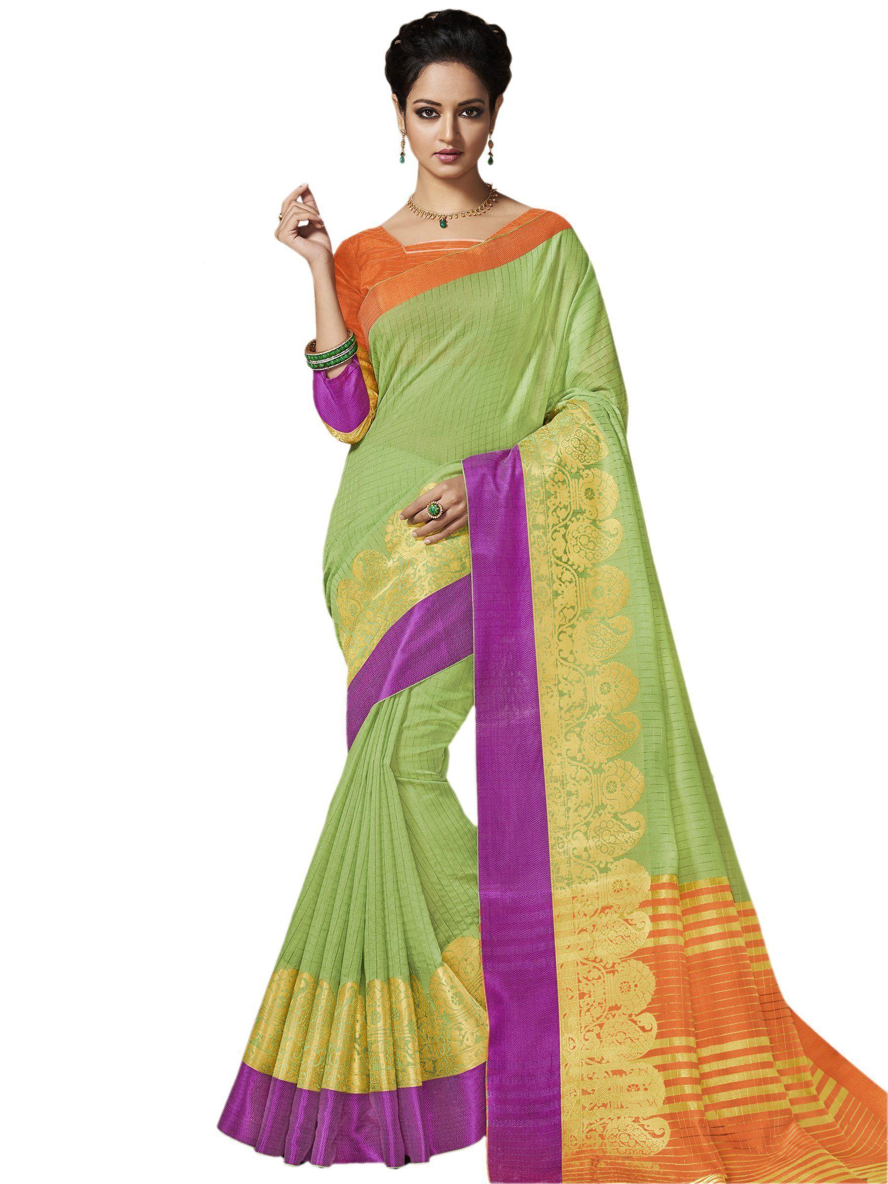 70fd39e3d9 Buy Green Color Banarasi Silk Saree | Zinnga | Sarees | Saree, Silk ...