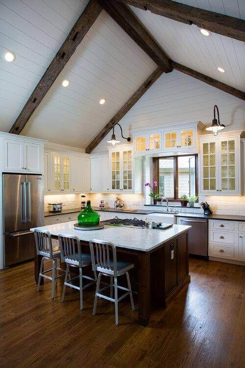 36 Great Exposed Beam Ceiling Lighting Ideas Vaulted Ceiling Kitchen Rustic Kitchen Kitchen Design