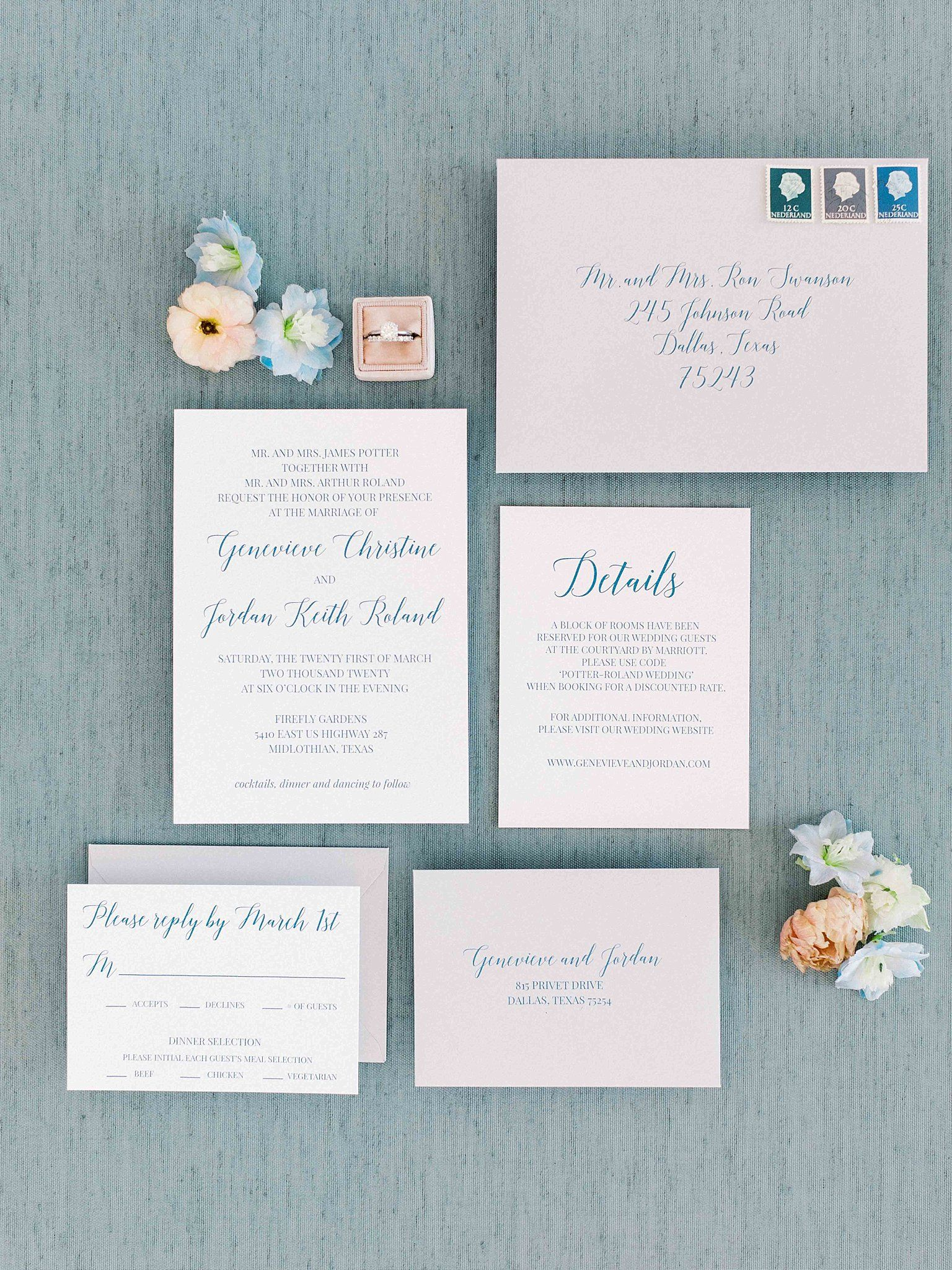 in dusty blue font color Blue wedding invitations