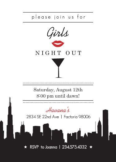 girls night out invitation Google Search DESIGN invitations