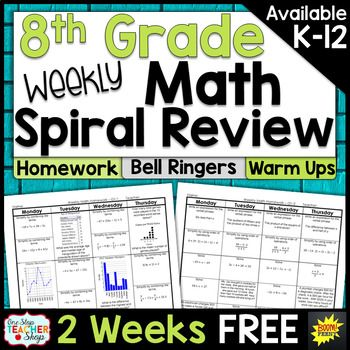 This FREE 8th Grade math spiral review resource can easily be used as spiral math HOMEWORK, spiral math WARM UPS, or a DAILY MATH REVIEW! This spiral math review was designed to keep math concepts fresh all year and to simplify your homework or warm up routines.