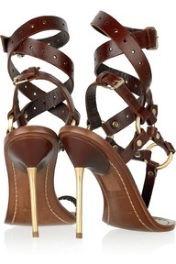Leather criss cross heels