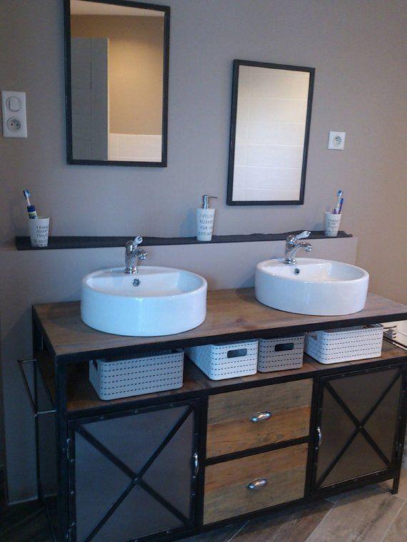 Industrial Steel And Solid Pine Bathroom Vanity 2 Mirrors Steel Meuble Salle De Bain Deco Salle De Bain Industrielle Et Salle De Bain Industrielle