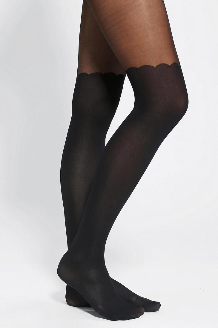 3bb52710e96 Scallop Faux Thigh-High Tight  urbanoutfitters