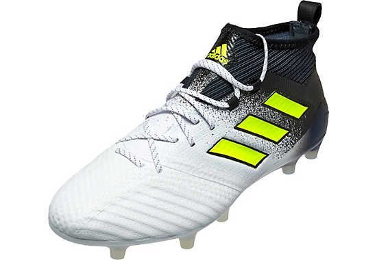 adidas ACE 17.1 FG Soccer Cleats - White & Solar Yellow - SoccerPro.com
