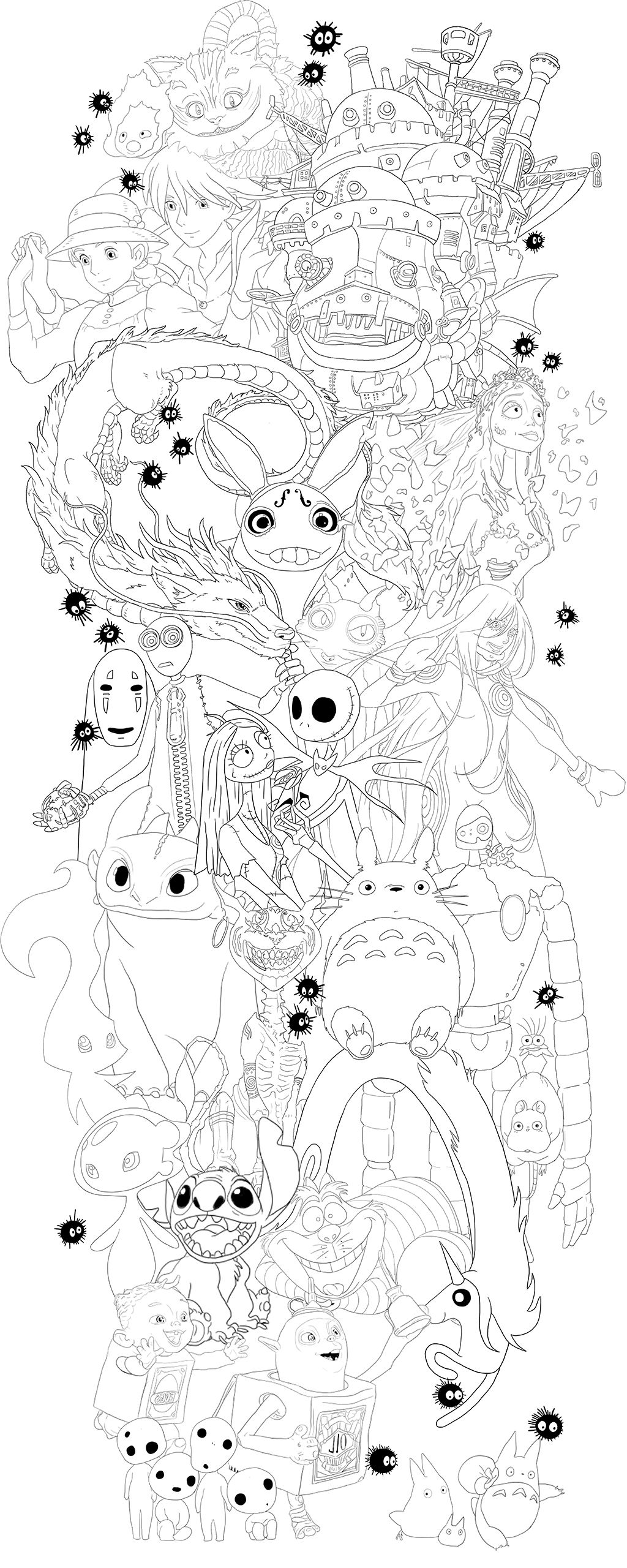 Line Work For A Tattoo Design Featuring Animated Characters From Cartoons Films Games And Anime Including Stu Disney Tattoos Ghibli Tattoo Tim Burton Tattoo