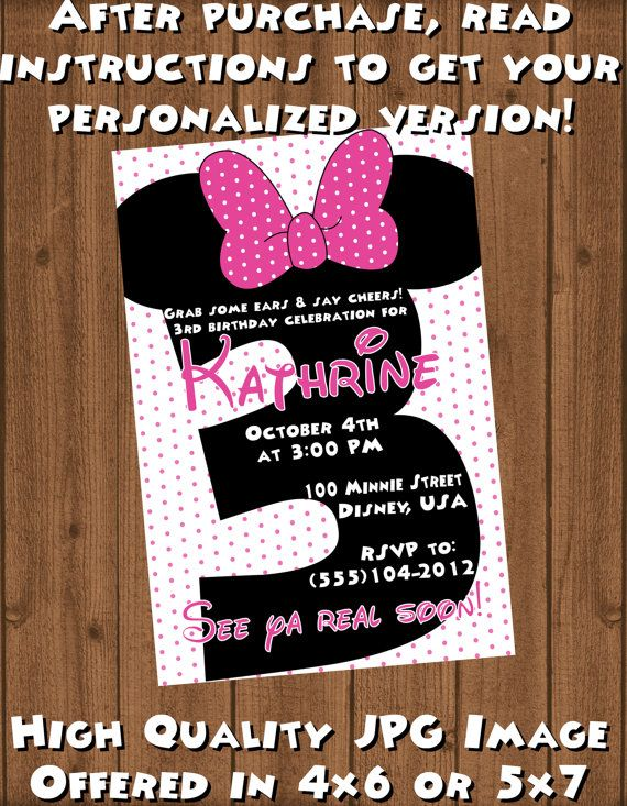 Minnie Mouse Third 3rd Birthday Invite File Invitations