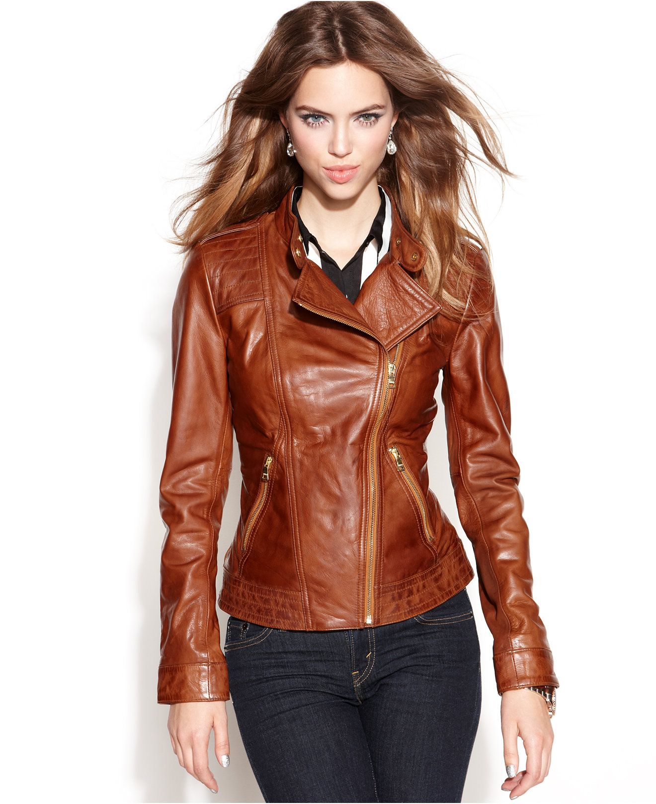 GUESS Asymmetrical Zip-Front Leather Jacket - Jackets & Blazers ...