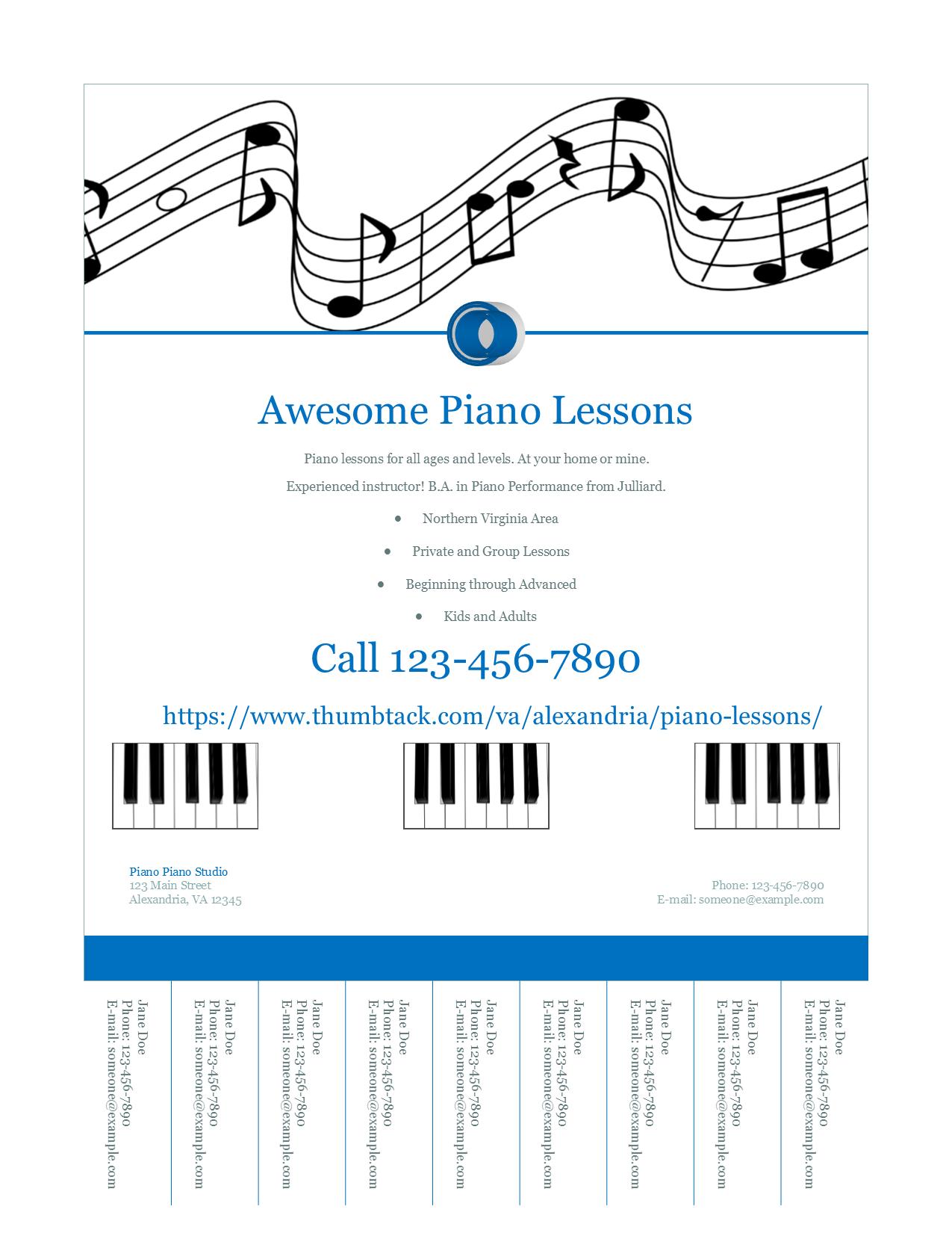 Mea Piano Studio Free Template Tear Off Flyer Mea Piano Studio