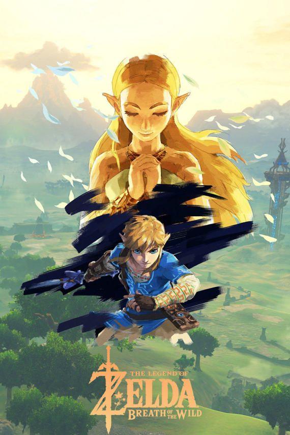 Legend Of Zelda Breath Of The Wild Game Poster New Art Print Ilustraciones Personajes De Videojuegos Estacion De Arte