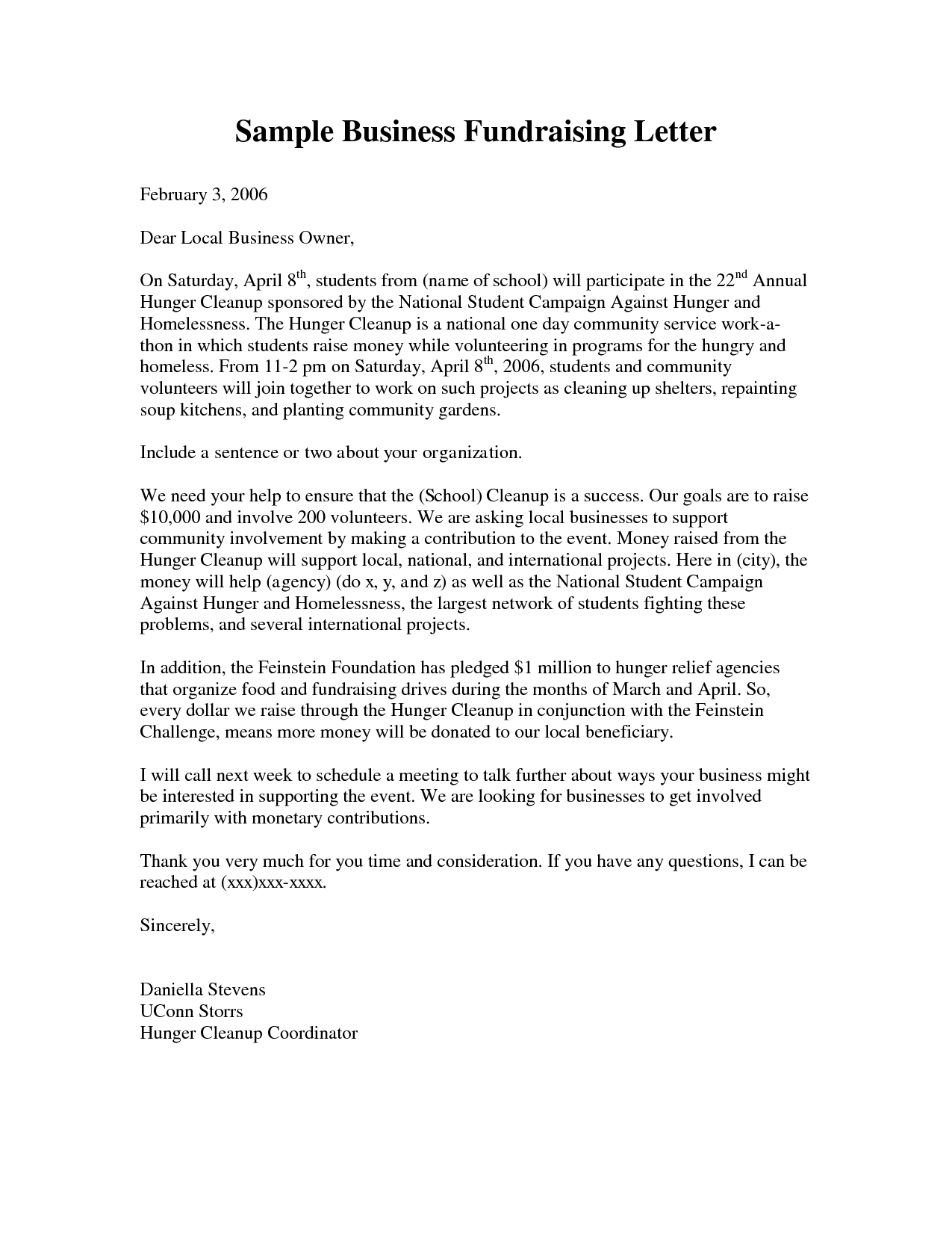 Business Fundraising Letter Sample Fundraising Letters