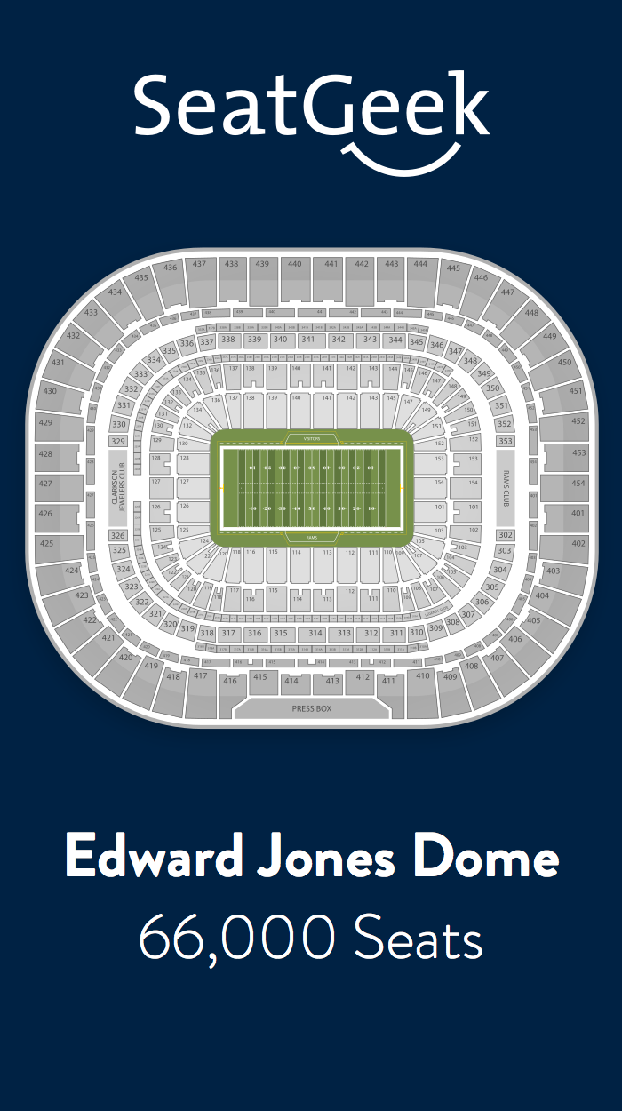Find The Best Deals On St Louis Rams Tickets And Know Exactly Where You Ll Sit With Seatgeek St Louis Rams Nfl Stadiums Edward Jones Dome