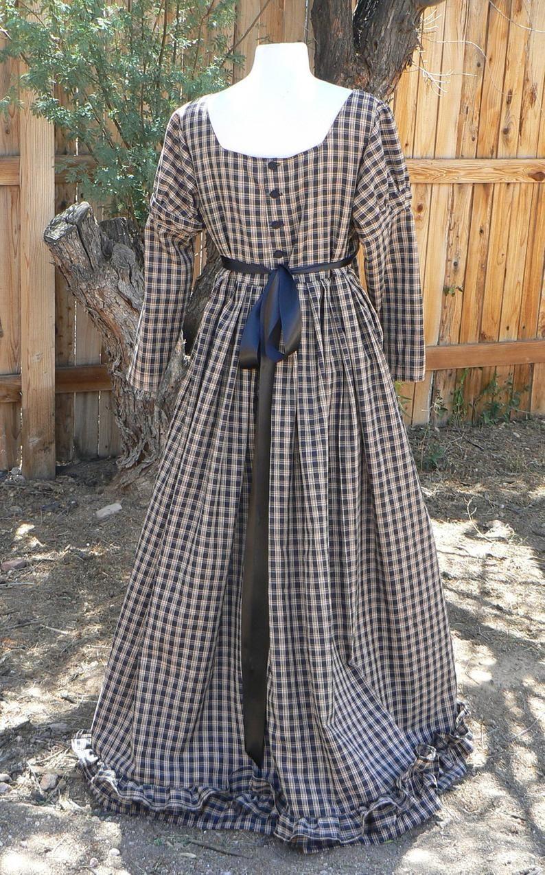 Regency Dress Homespun Plaid With Bottom Ruffle Empire Waist Etsy Old Fashion Dresses Pioneer Dress Western Outfits Women [ 1275 x 794 Pixel ]