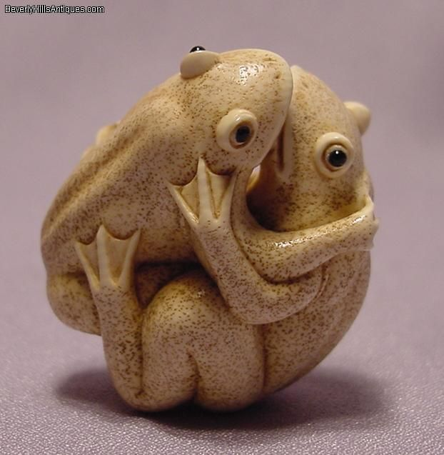 0fb9a8a02d7e Ivory Frogs Mating Netsuke For Sale