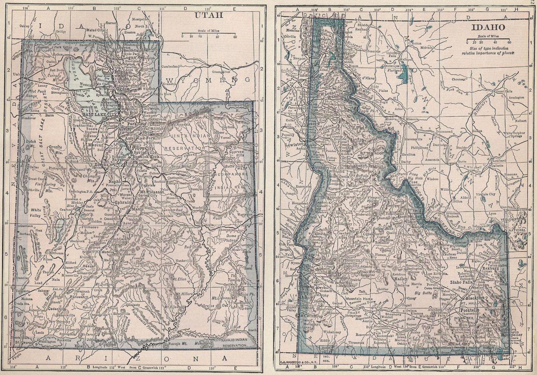 Vintage Maps Utah Idaho Montana Wyoming 1920s By Mypaperedpast