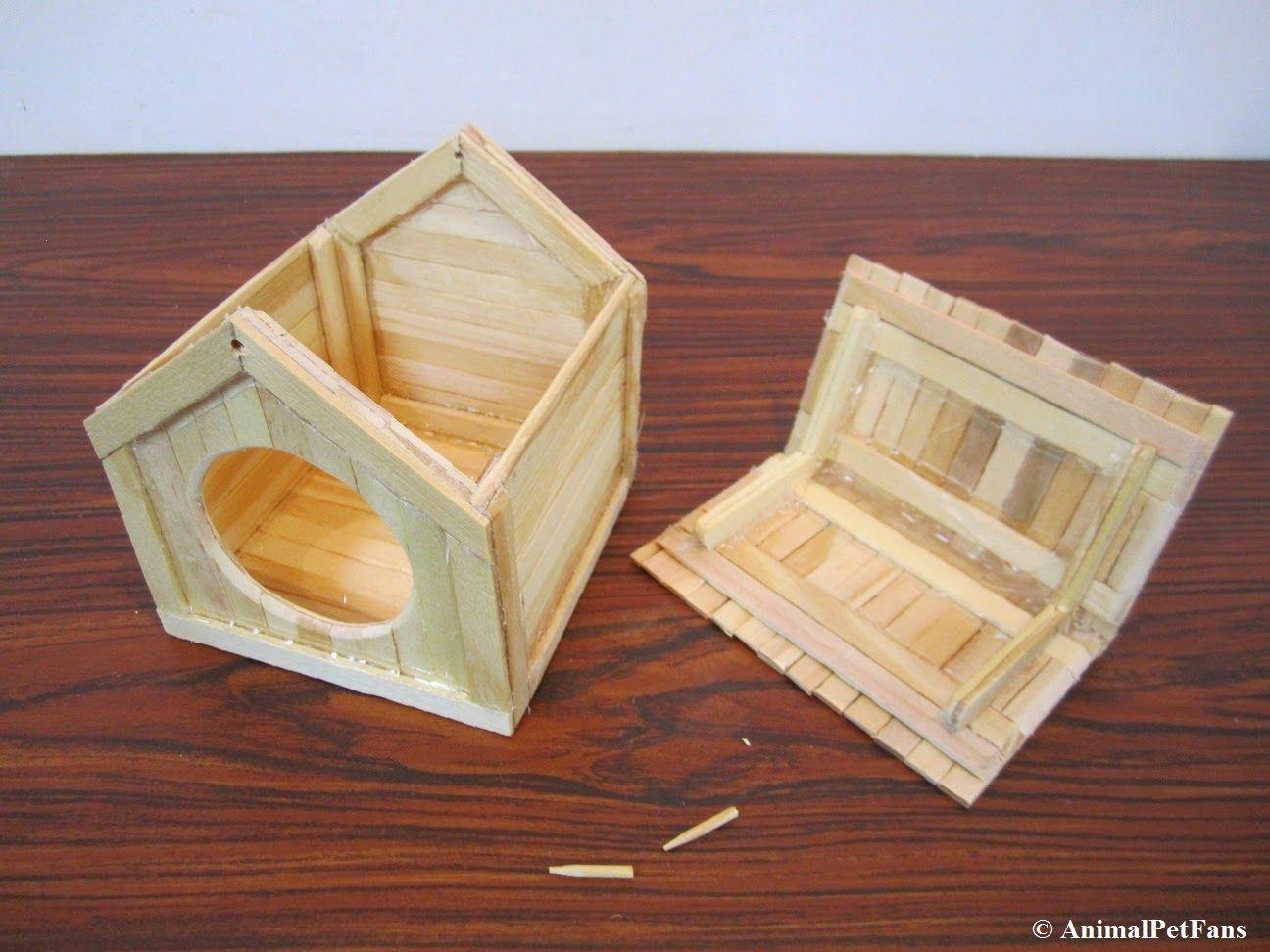 Hamster popsicle stick house … | Do | Hamst…
