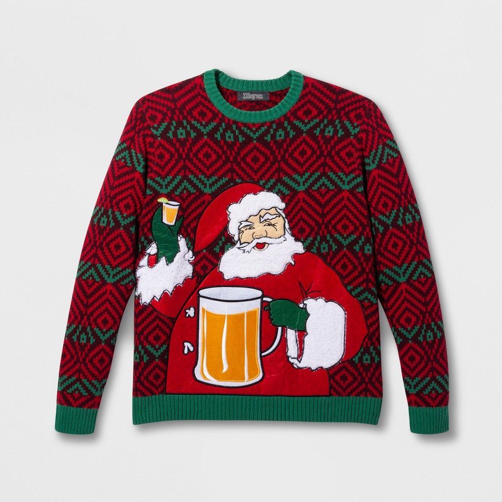 228636dfc0233 33 Degrees Men s Ugly Christmas Santa Beverage Holder Long Sleeve Pullover  Sweater - Red