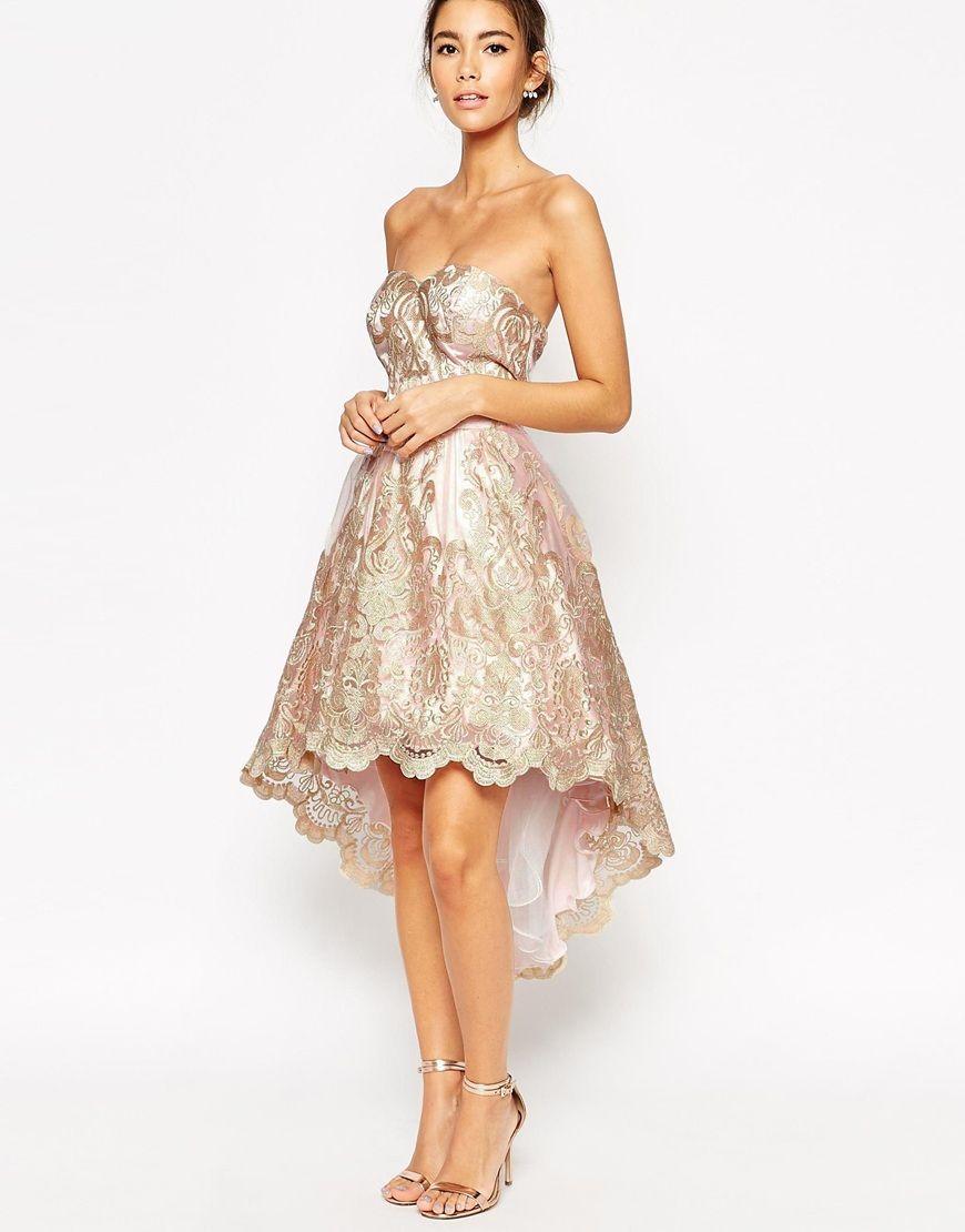 Chi chi london premium metallic lace bandeau high low mini prom shop chi chi london premium metallic lace bandeau high low mini prom dress at asos ombrellifo Choice Image