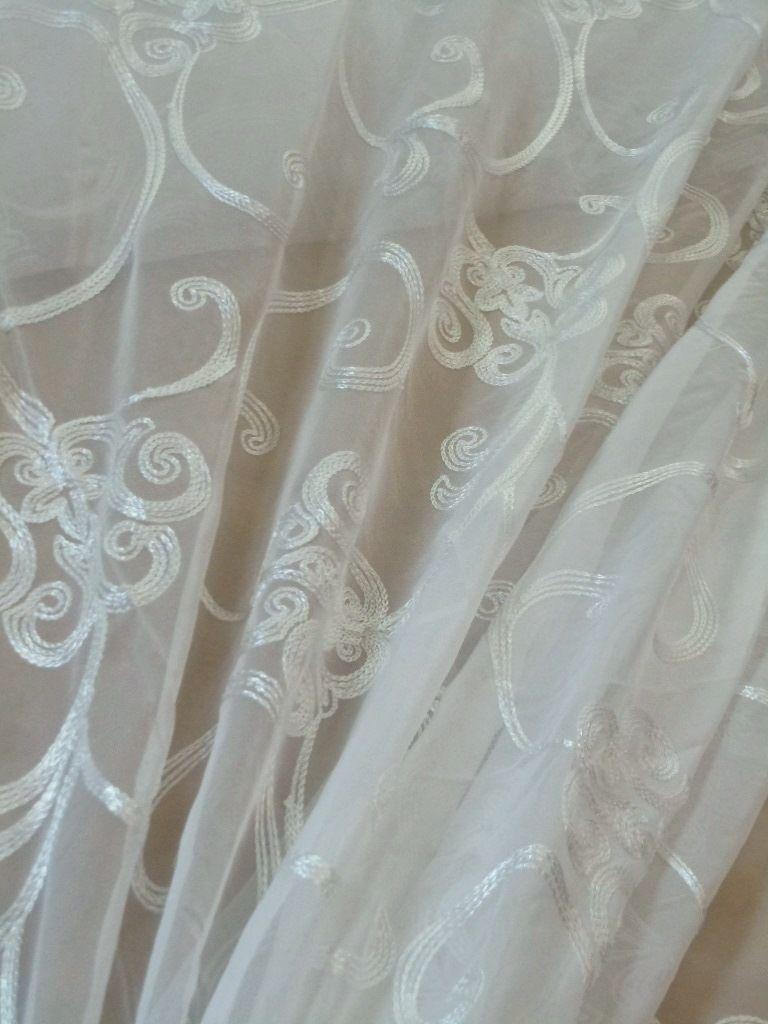 Embroidered Scroll Sheer Drapery Fabric Sheer Drapery Window