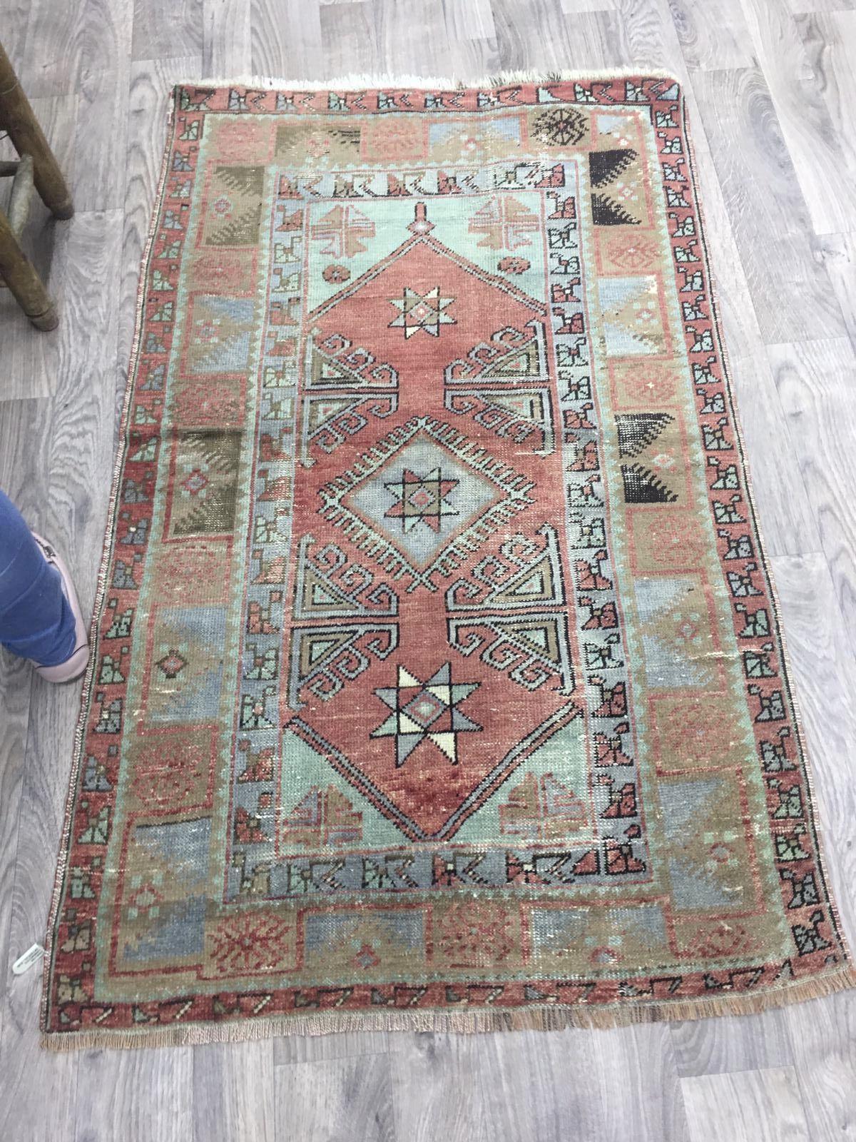 Faded Oushak Colorful Turkish Handmade Rug Carpet Handmade Star Rug Handmade Rugs