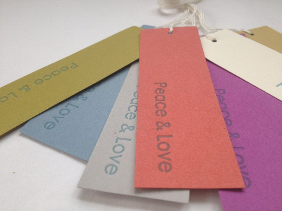 Letterpress Gift Tags peace & love bookmarks by foldingchairpress, $10.00