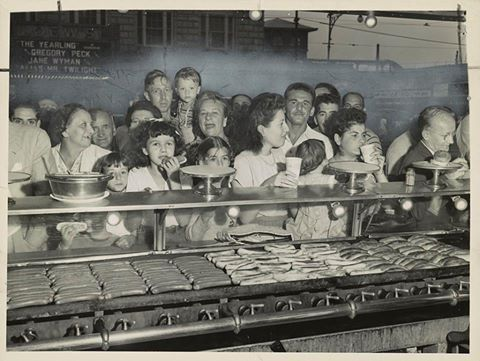 Nathan's hot dog counter, Coney Island. July 17th, 1947  Al Aumuller/Library of Congress