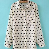 Beige Heart Print Shirt Collar Cuff Sleeve Lapel Blouse