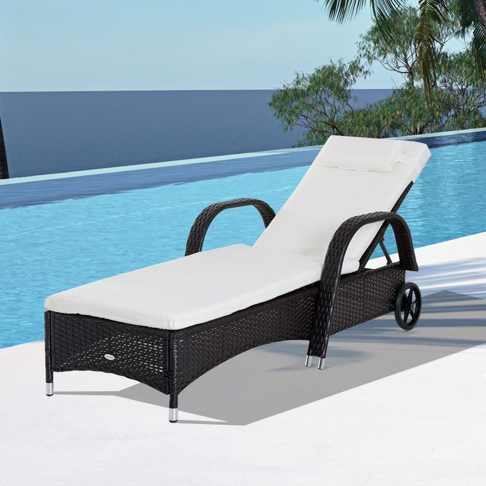 Outdoor Rattan Chaise Lounge Chair Cushioned Adjustable
