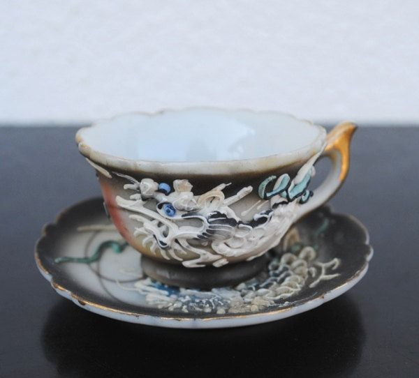 """Vintage White Dragon  Square Demitasse Cup 2 1//4/""""H and Saucer 3 1//2/""""L"""