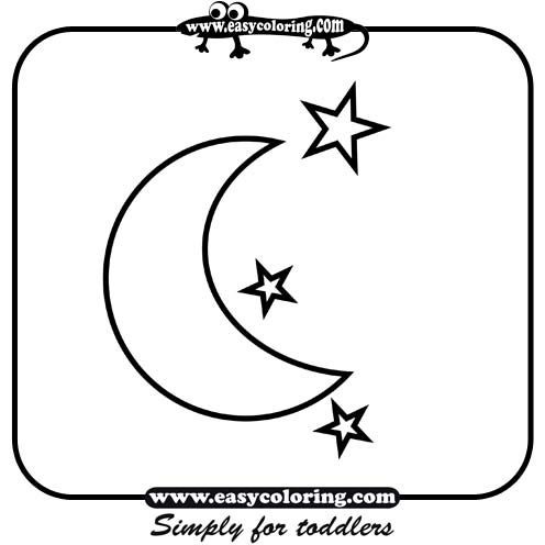 Moon and stars - Simple shapes | Easy coloring pages for toddlers ...