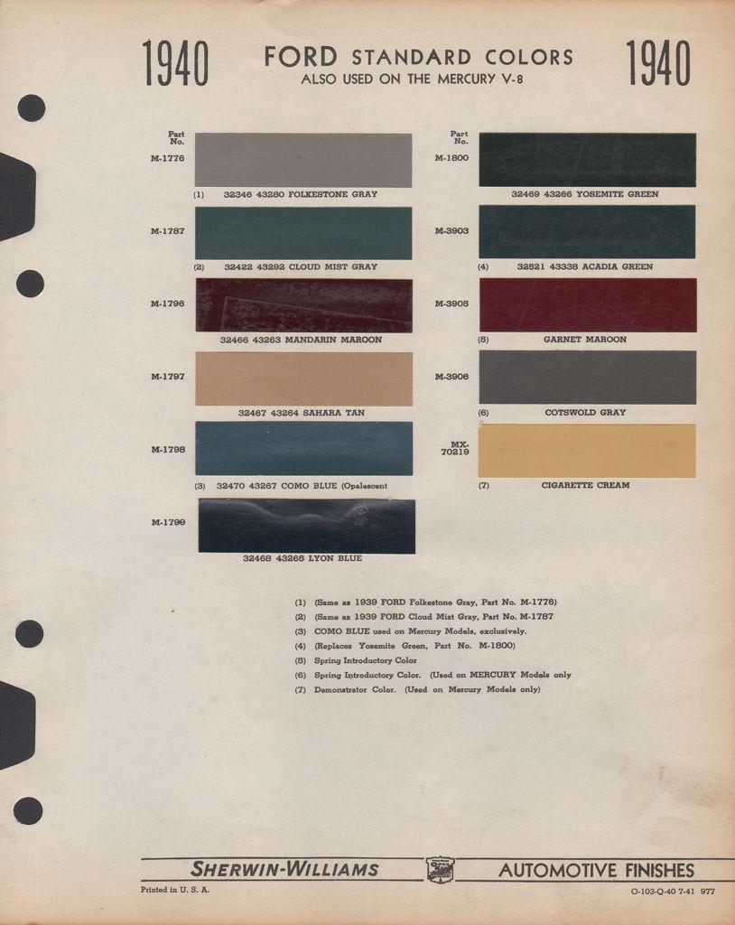 Paint Chips 1940 Ford Truck Rebuild Pinterest Trucks 4 3 Mercruiser Wiring Diagram Color Code Car Dupont