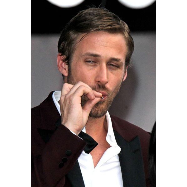 Ryan Gosling smoking a cigarette (or weed)