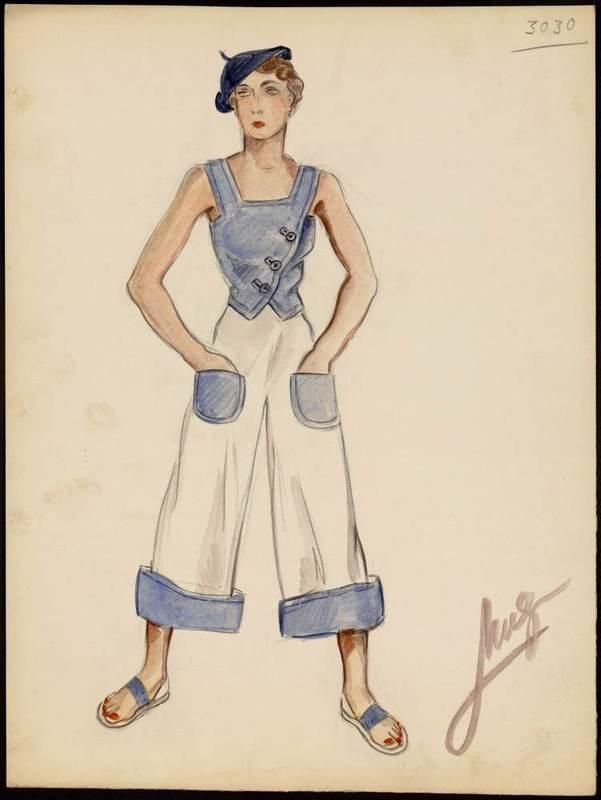 Jean Patou Fashion Sketch | LOVE French 30s to 50s High Style ...