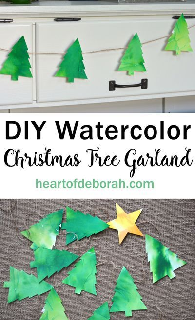 Adorable easy watercolor christmas tree garland craft for Garland christmas tree craft