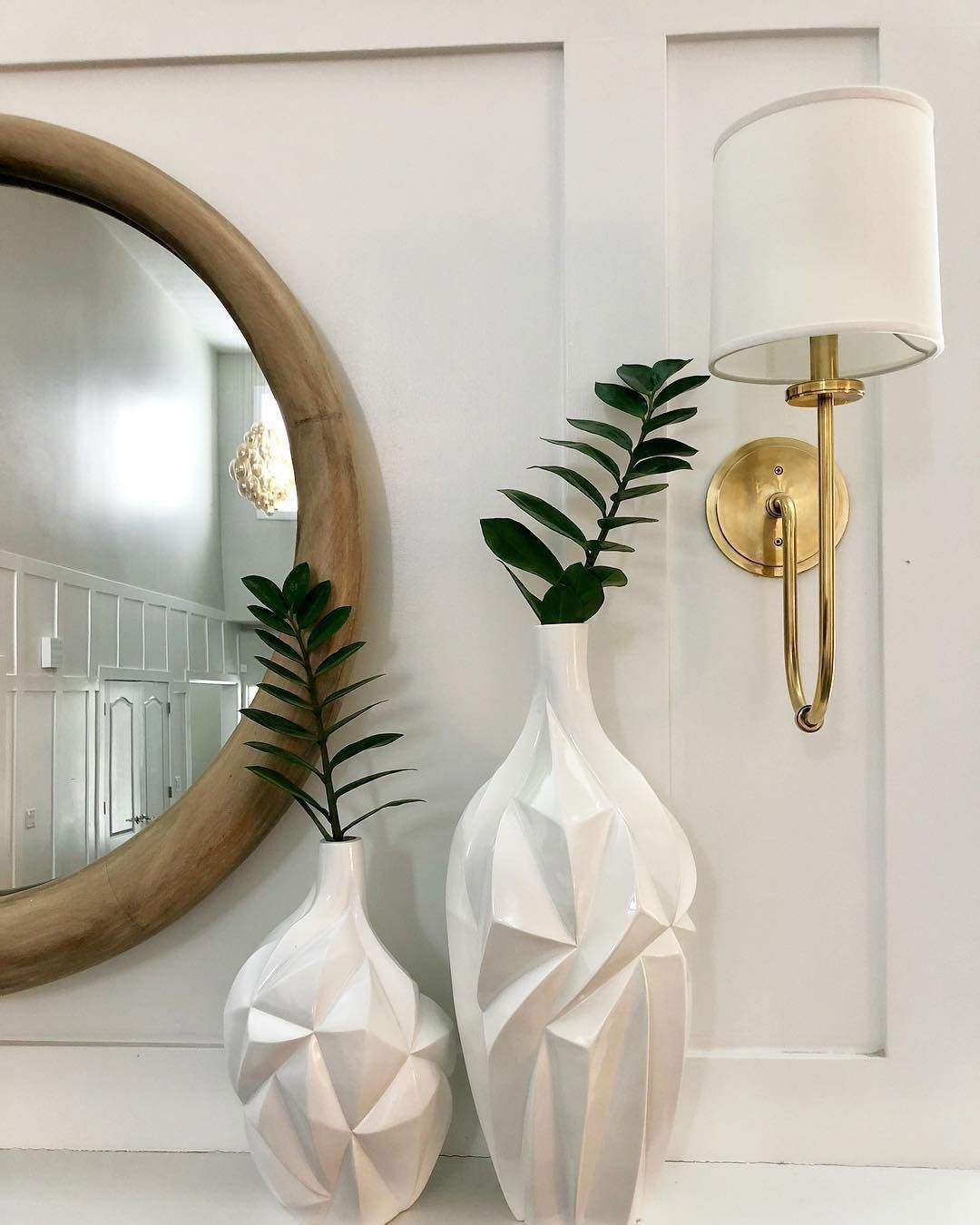 Hudson Valley Lighting On Instagram Beautiful White Vases Our Jericho Sconce Create A Tranquil Space Repost Mylightingsour Home Decor Decor White Vases