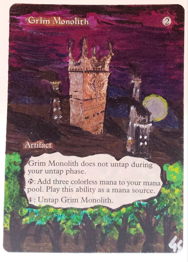 mtg altered art grim monolith world champs hand painted full art ooak rare magic mtg altered art grim monolith altered art mtg altered art grim monolith world