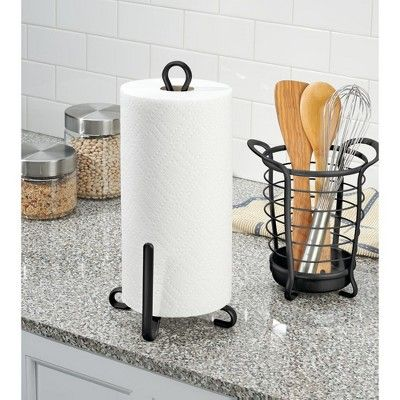 mDesign Vertical Metal Paper Towel Holder Stand and Dispenser - Matte Black #papertowelholders