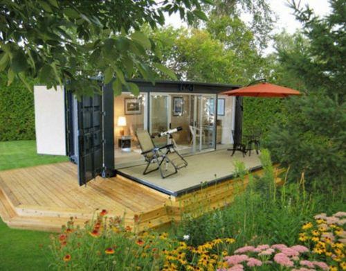 Fassade glas haus  außenbereich holzplatten sitzecke glas fassade container haus ...