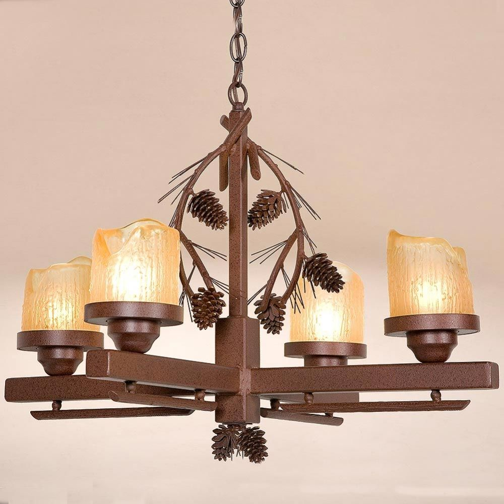 Pine Cone Candle Chandelier Modern Dining Room Lighting Rustic