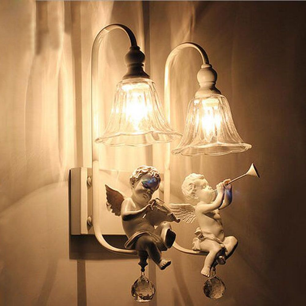 White Flower Angel Baby Resin Wall Lamp Sconce Lighting Fixture For Home Bedroom Indoor Hallway Led Lights